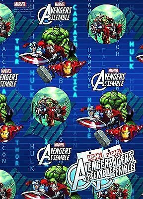 Avengers Assemble Gift Wrap Birthday Party 2 Sheets 2 Name Tags Paper Present