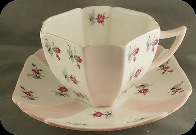 Vintage Shelley Deco Queen Anne Charm Pink Trim Cup & Saucer