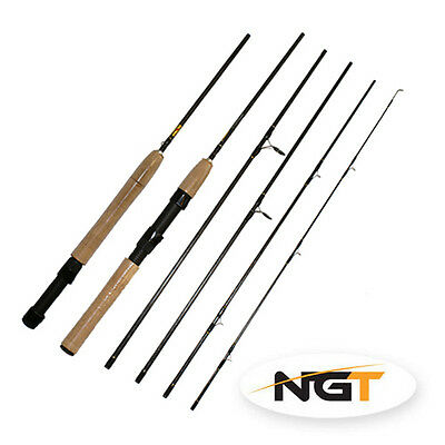 NEW NGT 7.5ft, 5pc Carbon Fly / Spin Travel Rod Convert fly to spin 2 in 1 Rod