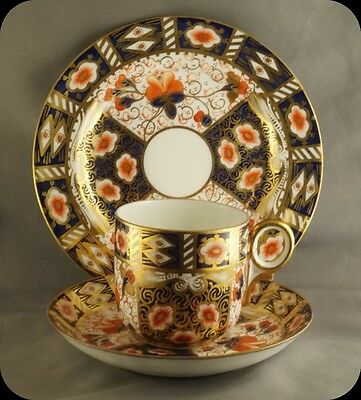 Vintage Royal Crown Derby Imari Cup & Saucer & Plate Trio Pattern 2034 Old Mark