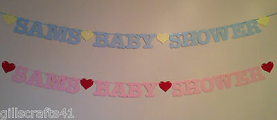 Personalised Baby Shower Banner Pink Blue Party Decorations Bunting Boy Girl