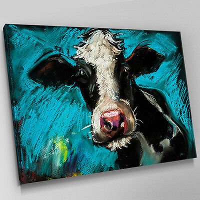 A614 FARM COW Blue Crayon Sketch Canvas Wall Art Animal Picture Large Print