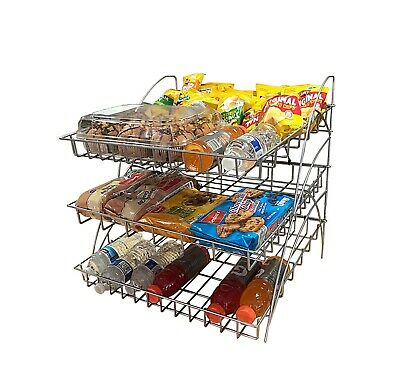 Bakery Wire Rack Three Open Shelves Metal Shelving Display Store Wire Shelf Rack