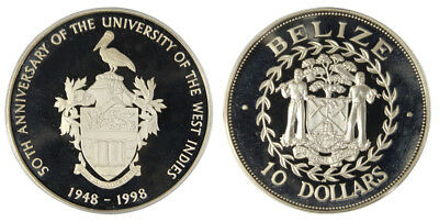 Belize $10 Dollars, Silver Coin, 1998, KM#130, Mint, University of West Indies