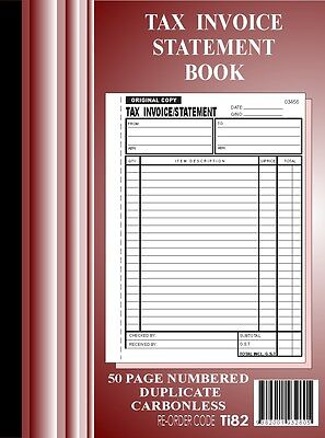5x 50 Page A4 Tax Invoice / Statement Book Carbonless in duplicate