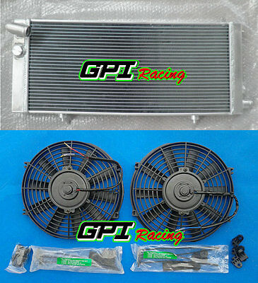 2 Core Aluminum Radiator & 2* Fans for PEUGEOT 205 GTI 1.6L & 1.9L 1984-1994 MT