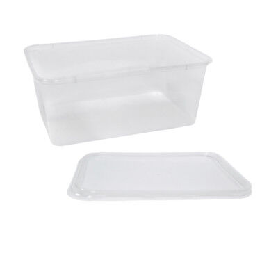 500x Clear Plastic Container w Flat Lid 1000mL Rectangle Disposable Chinese NEW