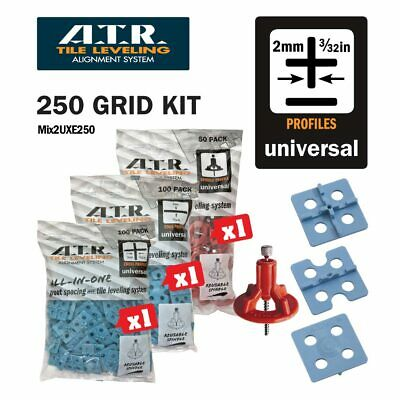 ATR TILE LEVELING SYSTEM Qty250 PIECE 2mm FLOOR KIT 100 Cross -100-Edge -50spin