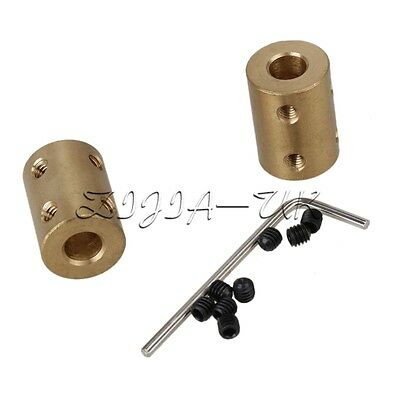 2pcs 7x7mm Golden Brass Coupling Rigid Shaft Coupling Motor Accessories