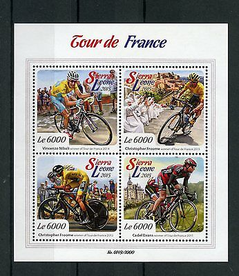 Sierra Leone 2015 MNH Tour de France 4v M/S Cycling Christopher Froome