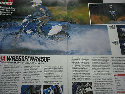 Yamaha Wr250F / Wr450F First Ride 2 Page Original Motorcycle Article