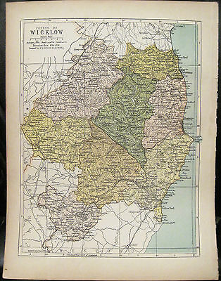Irish Map County WICKLOW Ireland Mtns Bray Arklow Colored PW Joyce 1905 7x9.5
