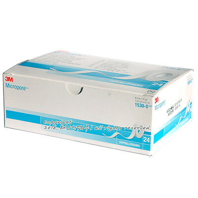 """3M Micropore Paper Medical Tape 1/2""""x10yds 1 to 24 rolls/box Eyelash Extension"""