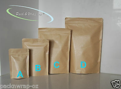 20 x Stand-Up Zip Lock Kraft Paper Bags resealable reseal food packaging pouch