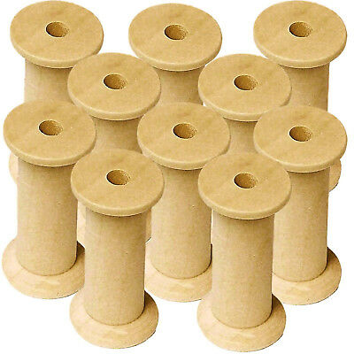 Wooden Bobbins Spools 50mm 10 Pack Sewing Ribbon Textile Yarn Craft 5mm dia hole