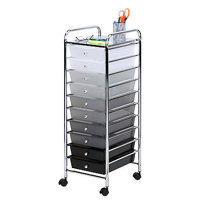 10 Drawer Rolling Storage Cart Shaded Bins #CRT-05255 by Honey Can Do