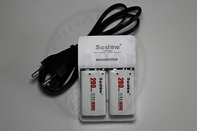 CHARGEUR SOSHINE + 2 PILES BATTERIE 9V NI-MH 280mAh RECHARGEABLE BATTERY ACCU