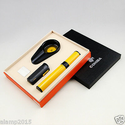 COHIBA Metal Black Cigar Lighter Ashtray Yellow Hydrating Tube Holder Cigar Set