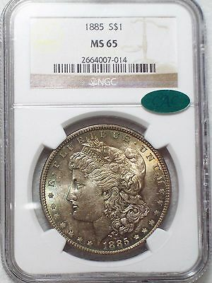 1885 NGC MS-65 CAC STICKER *SILVER* Morgan Dollar Gorgeous Full RAINBOW TONE $1