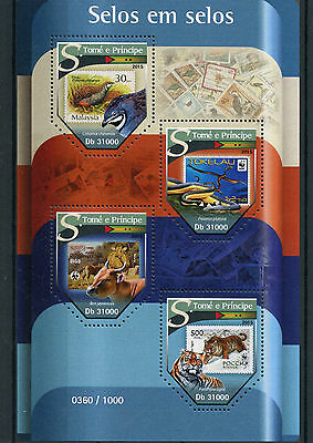 Sao Tome & Principe 2015 MNH Stamps on Stamps 4v M/S Birds Snakes Tigers Banteng
