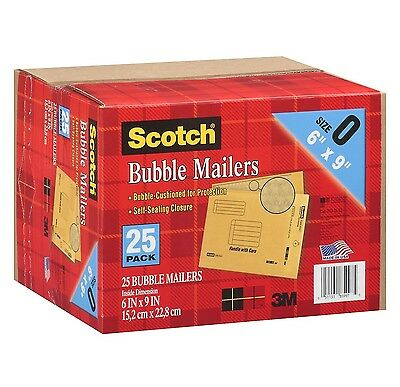 """New 25 Pack Size 0 3M Scotch Bubble Mailers 6"""" x 9"""" Padded Mailing Envelopes"""