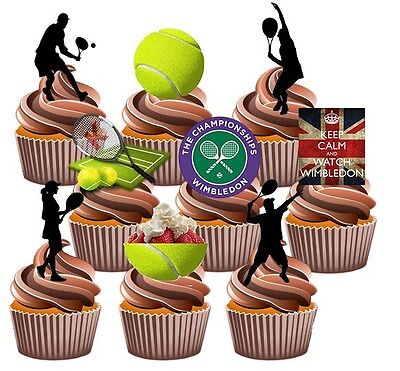 Wimbledon Tennis Party Pack Cake Decorations 36 Edible Stand-up CupCake Toppers