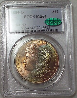 1884 O PCGS MS-64 CAC STICKER SILVER Morgan Dollar Gorgeous RAINBOW TONE $1