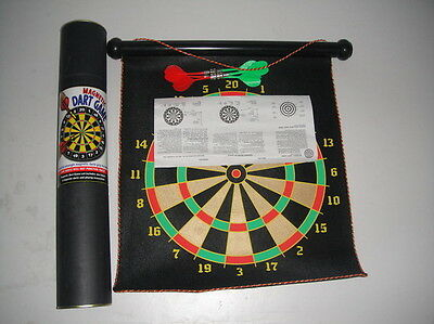 "17"" Magnetic Rollup Double Side Dart Board Game with 6 Darts Large Fun kids!"