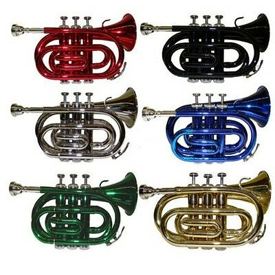 New Merano B Flat Pocket Trumpet with Case ~ Gold Silver Red Blue Black Green