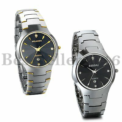 Mens Luxury Date Watch Tungsten Carbide Band Analog Quartz Business Wrist Watch