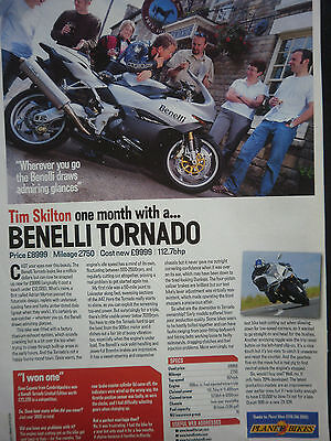 "Benelli Tornado # 1 Page ""one Month With"" Original Motorcycle Article"