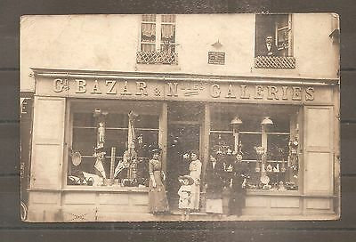 Carte Photo Postcard France Theme Commerce Colombes Grand Bazar Dept 92