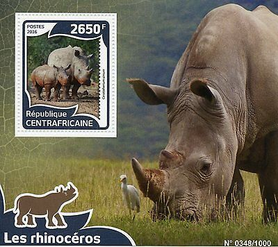 Central African Republic 2016 MNH Rhinoceros 1v S/S White Rhinos