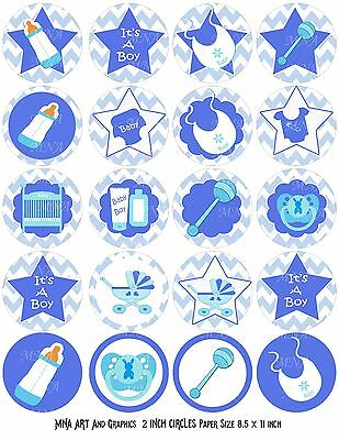 baby shower PRECUT - baby boy baby shower IMAGES CUP CAKE TOPPER 2 inch
