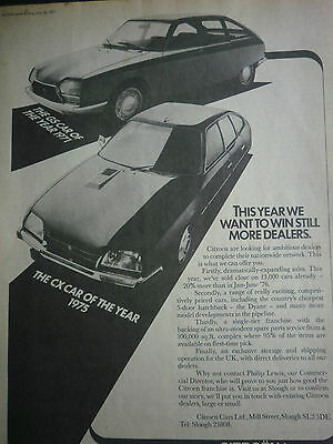"CITROEN CX / GS # ORIGINAL VINTAGE AUTOMOTIVE ADVERT # 11""x 8"""