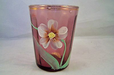 Victorian Amethyst Tumbler Hand Painted Purple Glass Paneled with Flower