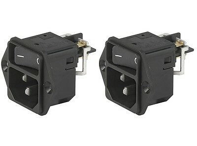 Lot of 2 SCHURTER DC11.0001.006 C14 DC11 POWER ENTRY MODULE & SWITCH 10A V-LOCK