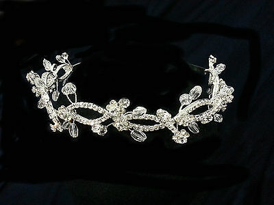 Rhinestones With Crystal Headpiece. Silver Headpiece.  1.5 inches  Tall