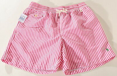 Polo Ralph Lauren Andover Pink Striped Swim Trunks Suit Green Pony NWT's B1D