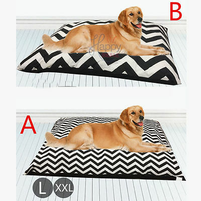 Black Pet Bed Mattress Dog Cat Pad Mat Cushion Pillow Large Soft Canvas Chevron