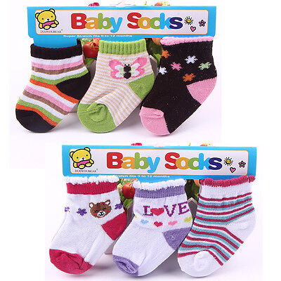 3pairs/lot Kids Baby Girl Boy Infant Toddler Soft Warm Cotton Bootee Socks 0-12M