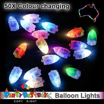 50X LED Balloon Lights Colour Changing  Paper Lantern Light Lamp Wedding Party