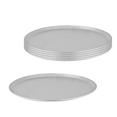 6x Pizza Tray / Plate with Tapered Edge, Aluminium, 250mm / 10 inch, Pizzas