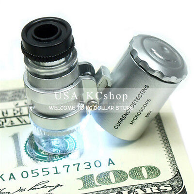 New Pocket 60X Magnifying Loupe Glass Jewelry Magnifier Loup Eye Coins LED Light