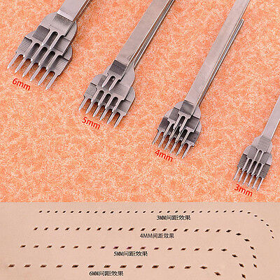 3/4/5/6mm Leather Craft Tools Hole Punches Stitching Punch Tool 1+2+4+6 Prong
