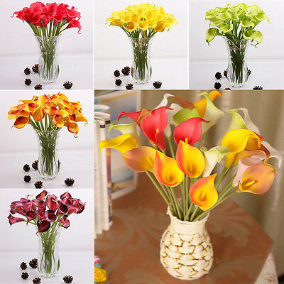 Artificial Calla Lily Wedding Bridal Bouquet Heads Fake Flowers DIY Home Decor
