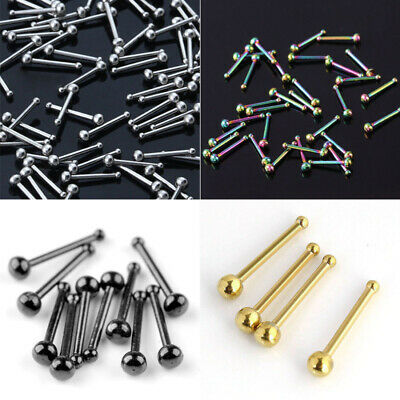 10Pcs 20G Stainless Steel Ball Bone Nose Stud Rings Bar Body Jewelry Wholesale