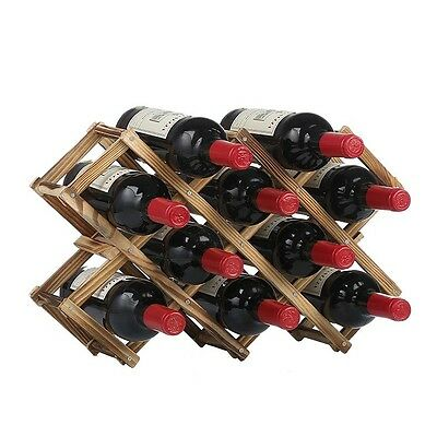 Wooden Foldable Wine Rack Stand Bottle Holder Shelf For 10 Bottles