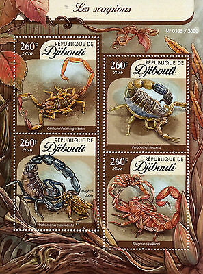 Djibouti 2016 MNH Scorpions 4v M/S Arachnids African Black Tail Scorpion Stamps