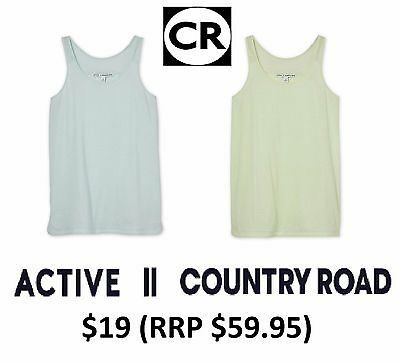 COUNTRY ROAD ACTIVE Racer Tank Top Vest Singlet BLUE YELLOW Sizes 10 12 14 16 18
